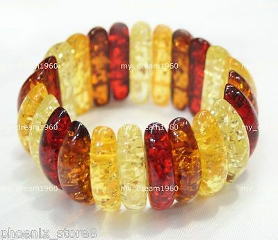 Genuine Baltic Amber Mix Color Tibet Amber Beeswax Stretch Bangle Bracelet