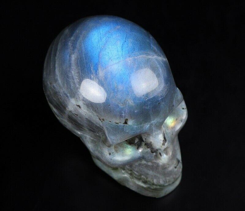 "2.0"" LABRADORITE Carved Crystal Skull, Realistic, Crystal Healing #994"