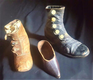 VERY OLD CHILDRENS HAND MADE LEATHER BOOTS & BABY SHOE
