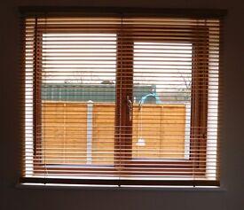 Pair of Horizontal wooden slat blinds.
