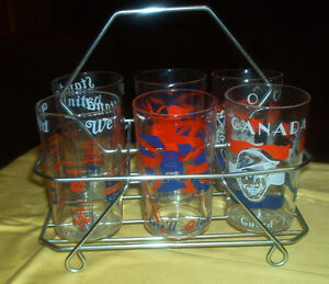 6 Water Glasses in Metal Tray- War Time Motif