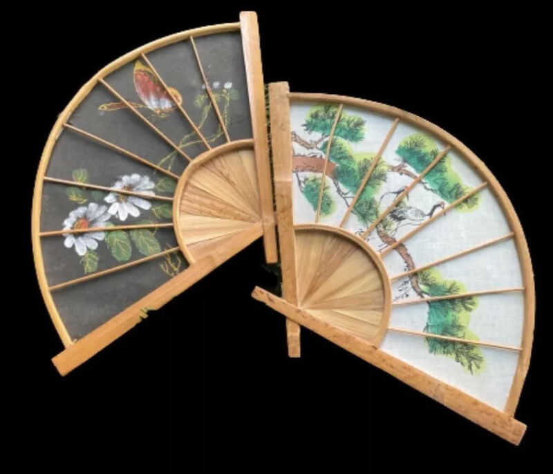 Ebony & Ivory Bamboo & Cloth HandPainted Asian Fan Wall Decor HandCrafted Gems