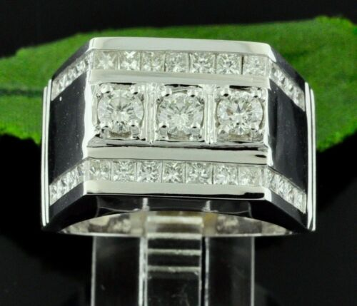 2.34ct 14k Solid White Gold Mens Natural Diamond Ring April Birthstone Statement