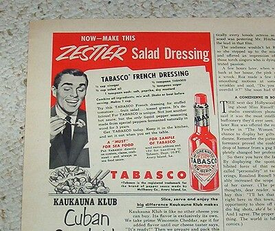 Hot Pepper Sauce Recipe - 1953 advertising -TABASCO McIlhenny hot Pepper Sauce- French Dressing recipe AD