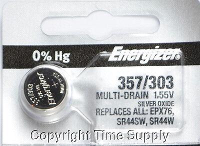 1 pcs 357 / 303 Energizer Watch Batteries SR44W SR44 0%Hg