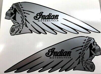 BM-12114 Silver Dark Horse Skeleton Head Indian Motorcycle Helmet Sticker Decal