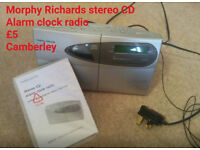 Morphy Richards stereo CD alarm clock radio with instructions