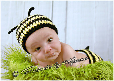 CROCHET BABY BUMBLE BEE HAT DIAPER COVER SET  infant toddler beanie photo prop