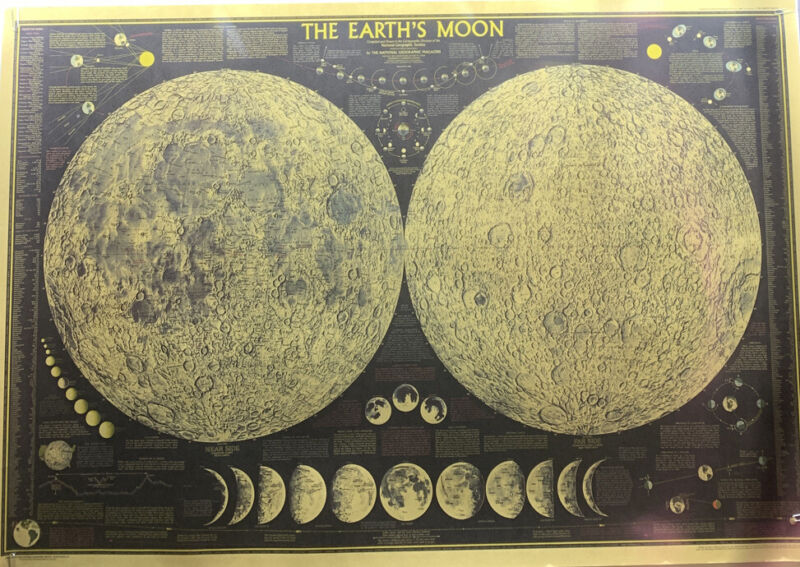 """VINTAGE MAP """"THE EARTH'S MOON"""" MAP! National Geographic Print Unframed BRAND NEW"""