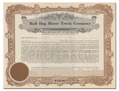 Bull Dog Motor Truck Company Stock Certificate (South Dakota)