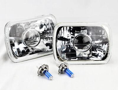"7x6"" Halogen H4 Clear Glass Projector Headlight Conversion Pair RH LH Plym"
