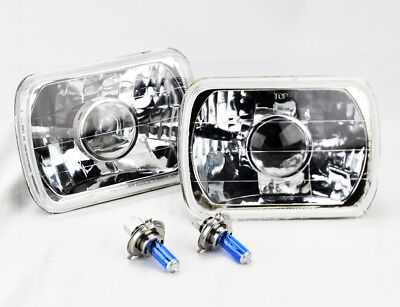 "7x6"" Halogen H4 Clear Glass Projector Headlight Conversion Pair RH LH Chevy"
