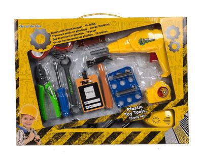 Kinder Werkzeug Set aus Kunststoff 19 Teile mit Bohrmaschine Spielzeug  Kinder-werkzeug-set
