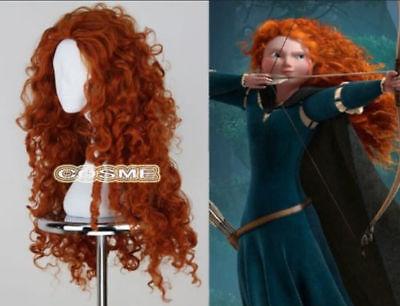Movie Brave Merida Long Curly Orange Heat Resistant Cosplay Wigs z61 (Movie Wigs)