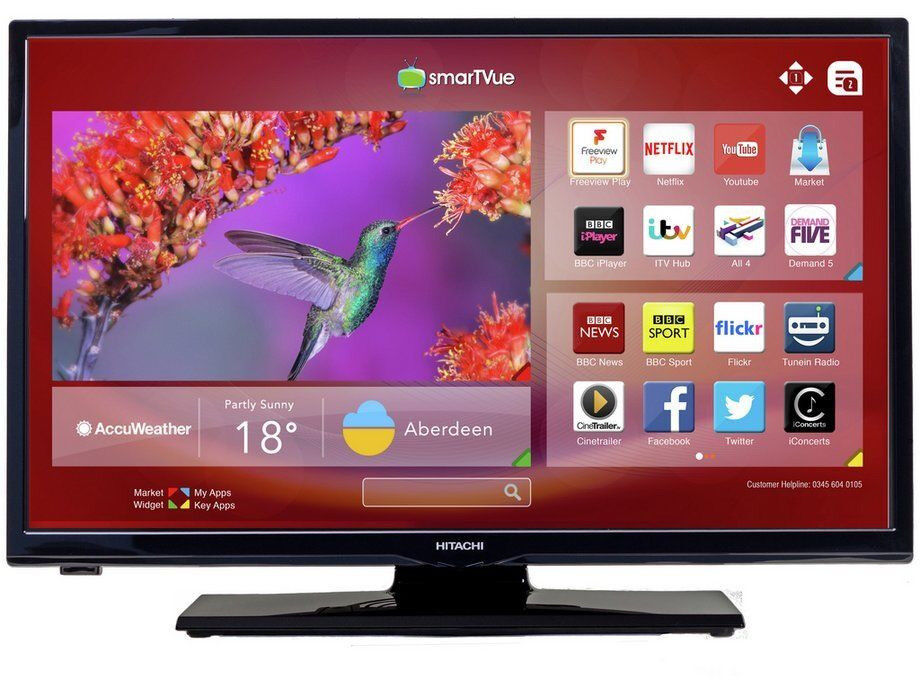 ***NEW***Hitachi 24HB1T65U 24 Inch HD Ready Freeview Play Smart LED TV Built-in WIFI