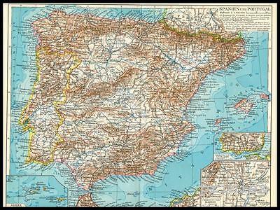 Landkarte Spanien Portugal Madrid Porto Lissabon Mallorca Ibiza 1933 Original