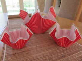SET OF 2 SMALL AND 1 LARGE VINTAGE 'CHANCE' RED/WHITE PIN STRIPE HANDKERCHIEF VASES 1950's ERA