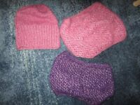 Handknitted hat and two snoods / neckwarmers.