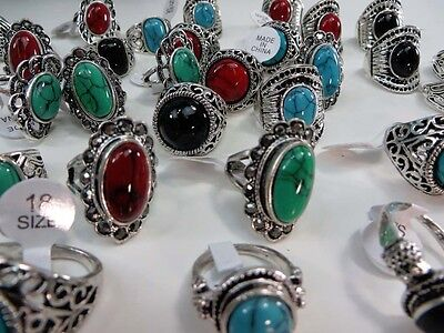 [US SELLER] 15 rings wholesale jewelry lot vintage turquoise stone fashion ring