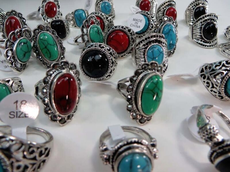 15 rings wholesale jewelry lot  turquoise stone fashion ring