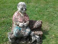 Vintage Knitting Grandmother on Bench Garden Ornament Garden Statue