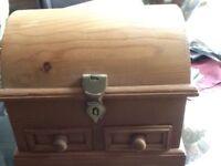 Treasure chest pine wooden jewellery box