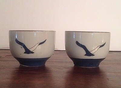 Vintage Hand Painted Japaneses Chinese Tea Cups with Stylized Bird Set of 2