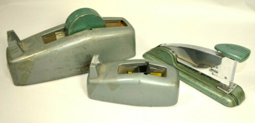 Vtg MCM Desk Set Scotch Heavy Duty Metal Dispenser C-23 Tape Swingline 4 Stapler