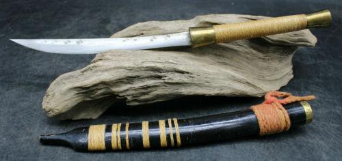 Ornate Asian knife Burmese Shan Dha Antique Tanto Short Sword w/ Scabbard (E3)