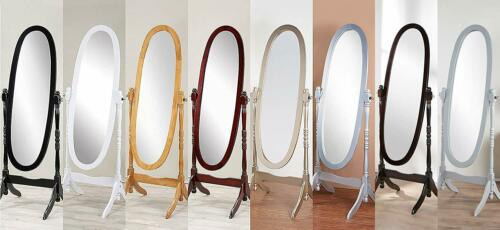 Swivel Full Length Wood Cheval Floor Mirror, White/Oak/Cherry/Black/Gold/Silver