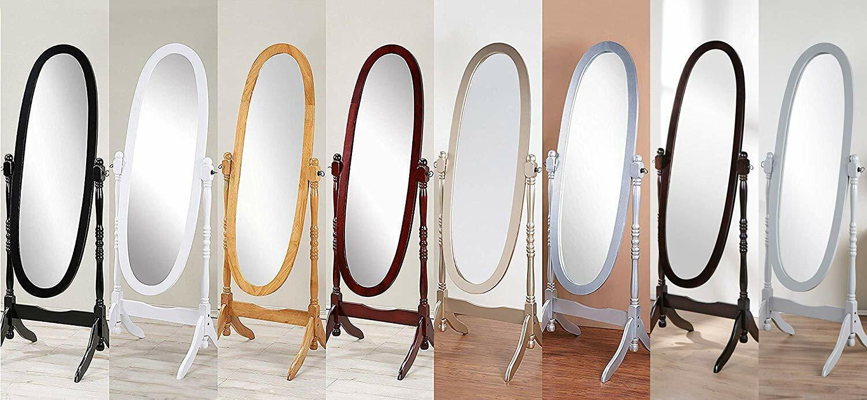 Swivel Full Length Wood Cheval Floor Mirror, White/Oak/Cherr