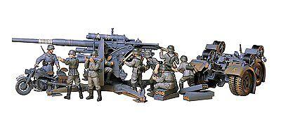 Tamiya 35017 1:35 WWII Dt. Flak 8.8 mit Motorrad  NEU OVP /