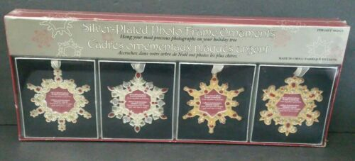 """Set of 4 Christmas Photo Frame Ornament Gift Box Holds 2x2"""" Photo Silver Plated"""