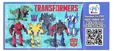 Komplettsatz Transformers aus China mit einem Beipackzettel