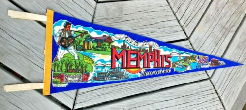 "Vintage 26"" Memphis Tennessee Pennant Graceland, Beale Street Bright Color Rare"