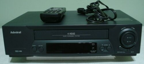 admiral # jsj20447 vcr/vhs player recorder with factory remote 4-head hi fi ster