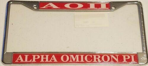ALPHA OMICRON PI Aluminum License Plate Frame