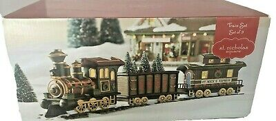 St. Nicholas Square Village Set of 3 Ceramic Train Set St Nick's Express 2018