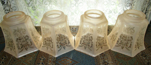 "Set of 4 Amber Etched Frosted Glass Light Shades 2 1/4 "" Fitter"