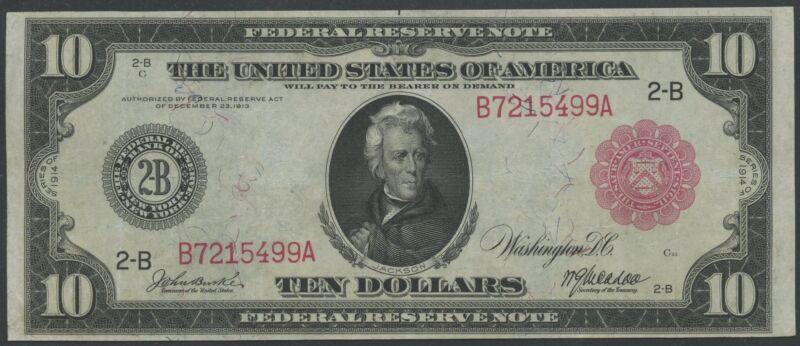 Fr893b $10 1914 Frn Red Seal New York Vf-xf Wl8980