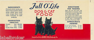 Vintage Can Label Rare Dog Food 1940S Full O Life Scotty Pittsburgh Pa Original