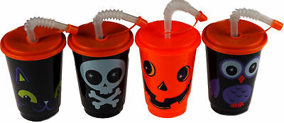 Set Of 4 Children's Halloween Cups With Lid And Straw - Pumpkin, Skull, Cat, Owl