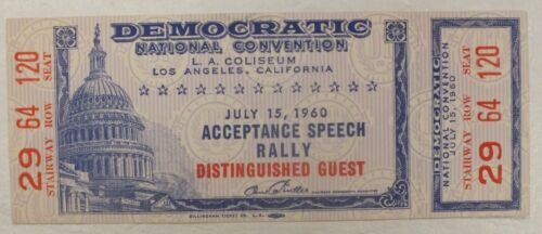 1960 Democratic Convention Acceptance Speech Ticket John F Kennedy MJ018