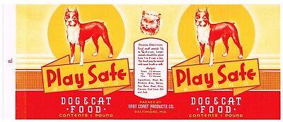 OLD VINTAGE CAN LABEL RARE DOG CAT FOOD 1940 BALTIMORE MARYLAND PLAY SAFE BOXER