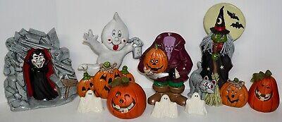 9 Vintage 80s-90s Ceramic Halloween Decorations Decor Witch Dracula Headless  - Ceramic Halloween Decorations