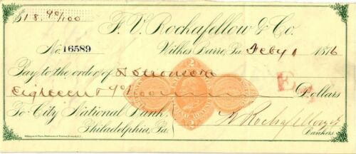 1876 $18.99 Check - City National Bank, Philadelphia, PA - Wilkes Barre - Used