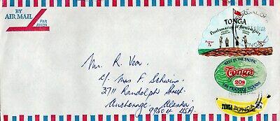 1973 airmail cover Tonga to Anchorage, Alaska, USA