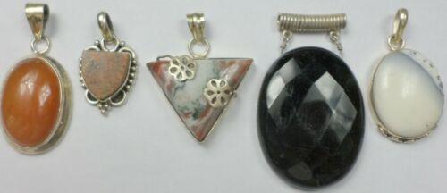 5 Vintage 925 Sterling Silver Agate Jasper Onyx Carnelian Stone Pendant 80 Grams