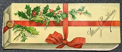 "Vintage ""Merry Christmas"" 'Gift' Celluloid Ink Blotter with Santa Grommet"