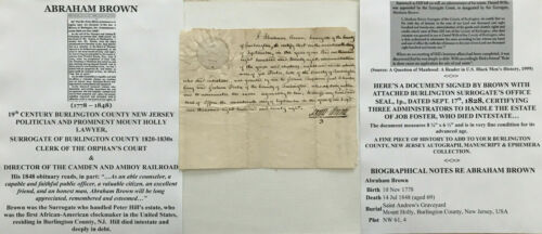 1828 ABE BROWN SIGNED MT HOLLY NJ CAMDEN & AMBOY RR DIRECTOR POLITICIAN DOCUMENT